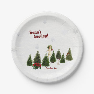 Jack Russell Red Poinsettia Holiday Paper Plate #2 7 Inch Paper Plate