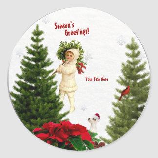 Jack Russell Red Poinsettias Round Stickers