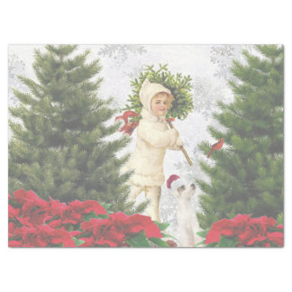 Jack Russell Red Poinsettias Tissue Paper