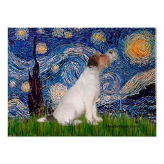 Jack Russell Terrier 5 - Starry Night Poster