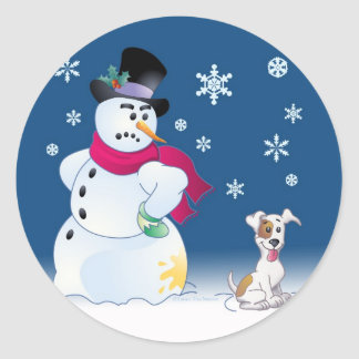 Jack Russell Terrier and Snowman Sticker