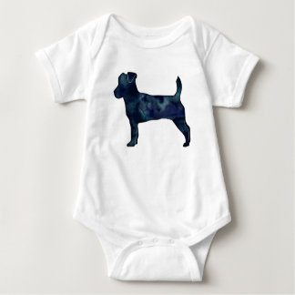 Jack Russell Terrier Black Watercolor Silhouette Baby Bodysuit