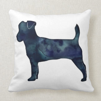 Jack Russell Terrier Black Watercolor Silhouette Throw Pillow