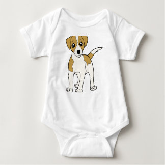 jack-russell-terrier cartoon baby bodysuit