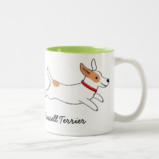 Jack Russell Terrier Cartoon Dog with Custom Text Two-Tone Mug