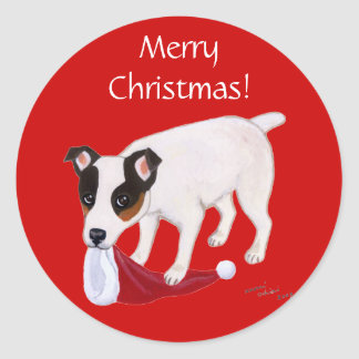 Jack Russell Terrier Christmas Classic Round Sticker