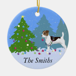 Jack Russell Terrier Decorating Christmas Tree Ceramic Ornament
