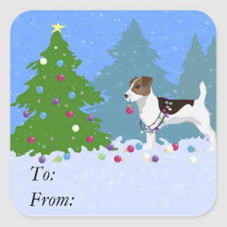 Jack Russell Terrier Decorating Christmas Tree Square Sticker