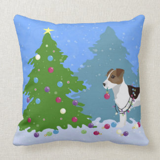 Jack Russell Terrier Decorating Christmas Tree Throw Pillow