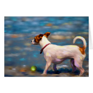 Jack Russell Terrier Dog Art - Jack at the Beach Card
