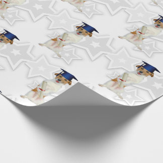 Jack Russell Terrier Dog in a Blue Graduation Cap Wrapping Paper