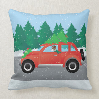 Jack Russell Terrier Driving Car Tree on Top Throw Pillow