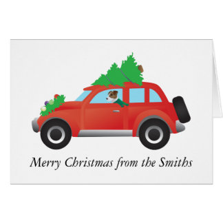 Jack Russell Terrier Driving Christmas Car Card