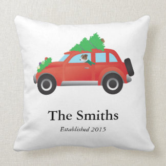 Jack Russell Terrier Driving Christmas Car Throw Pillow