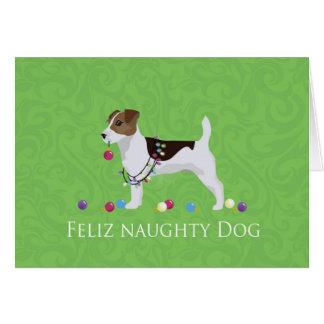 Jack Russell Terrier Feliz Naughty Dog Christmas Card