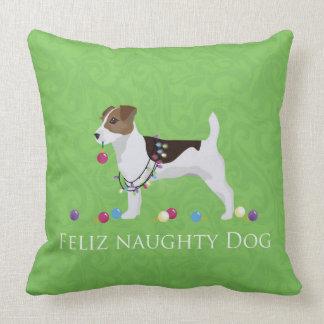 Jack Russell Terrier Feliz Naughty Dog Christmas Throw Pillow