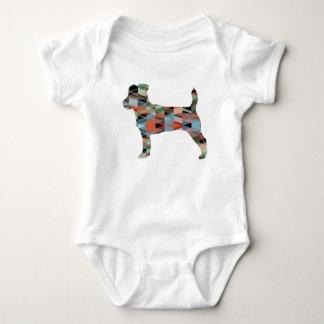 Jack Russell Terrier Geometric Pattern Silhouette Baby Bodysuit