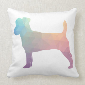 Jack Russell Terrier Geometric Pattern Silhouette Throw Pillow