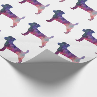 Jack Russell Terrier Geometric Pattern Silhouette Wrapping Paper