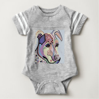 Jack Russell Terrier in Denim Colors Baby Bodysuit