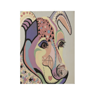 Jack Russell Terrier in Denim Colors Wood Poster
