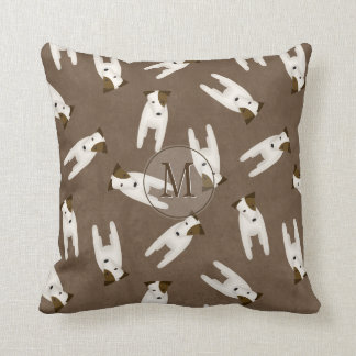 Jack Russell Terrier lovers monogrammed Throw Pillow
