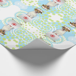 Jack Russell Terrier Nurse with First Aide Kit Wrapping Paper