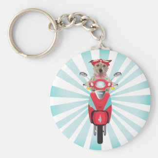 Jack Russell Terrier on Red Moped Key Ring