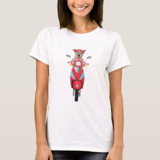 Jack Russell Terrier on Red Moped T-Shirt