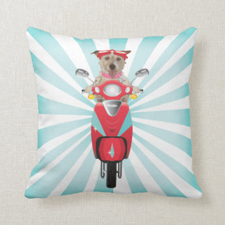 Jack Russell Terrier on Red Moped Throw Pillow