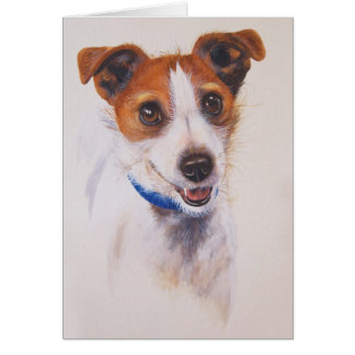Jack Russell Terrier Painted in Watercolour Greeting Card
