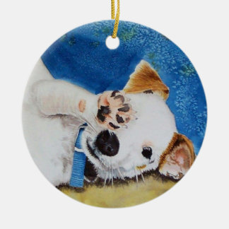 Jack Russell Terrier Pup Round Ceramic Decoration