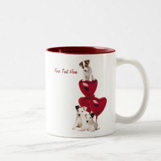 Jack Russell Terrier Really Cute Valentine Design Two-Tone Coffee Mug