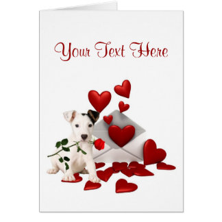 Jack Russell Terrier Red Rose Valentine Design Card