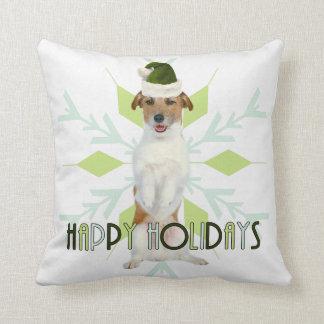 Jack Russell Terrier Santa Dog | Green Christmas Throw Pillow