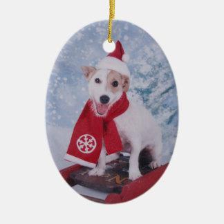 Jack Russell Terrier - Santa's helper Ceramic Ornament