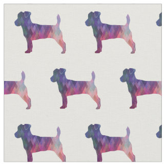 Jack Russell Terrier Silhouette Tiled - Pink Fabric