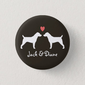 Jack Russell Terrier Silhouettes with Heart 3 Cm Round Badge