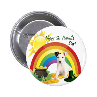 Jack Russell Terrier St. Patrick's Day Wishes 6 Cm Round Badge