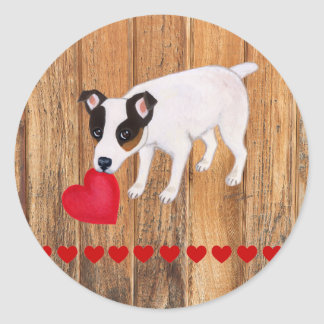 Jack Russell Terrier Valentine Stickers Wood