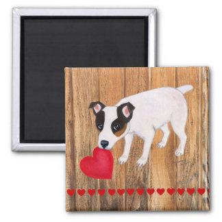 Jack Russell Terrier Valentine Wood Magnet