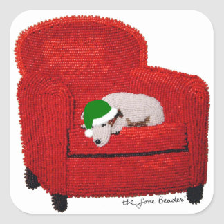Jack Russell Terrier w/ Santa Hat Holiday Sticker