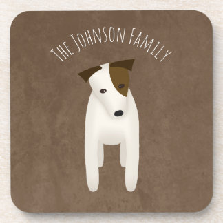 jack russell terrier with cute head tilt drink coaster