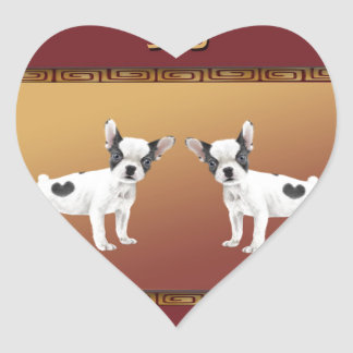 Jack Russell Terriers Asian Design Chinese Heart Sticker