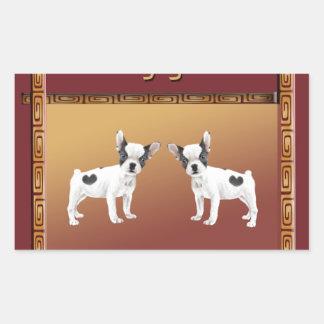 Jack Russell Terriers Asian Design Chinese Rectangular Sticker