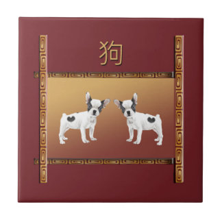 Jack Russell Terriers Asian Design Chinese Tile