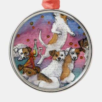 Jack Russell Terriers at a party Metal Ornament