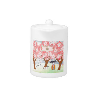 Jack Russell Terriers, Chinese Girl, Plum Tree