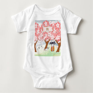 Jack Russell Terriers, Chinese Girl, Plum Tree Baby Bodysuit