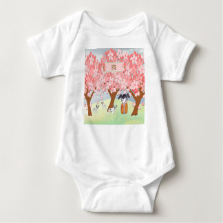 Jack Russell Terriers, Chinese Girl  Plum Tree Baby Bodysuit
